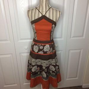 BCBGMAXAZRIA brown/orange halter sundress